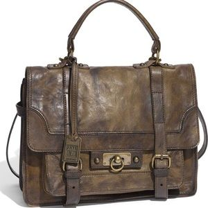 Frye Cameron Flap Satchel Distressed Leather Bag